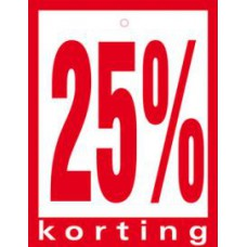 Geponste prijskaart 25% Korting 100st Tfr4525