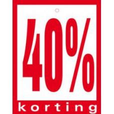 Geponste prijskaart 40% Korting 100st Tfr4540