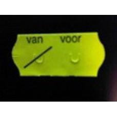 Etiket 26x12 golfrand fluor geel perm VAN VOOR Td27113091
