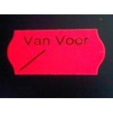 Etiket 26x12 golfrand fluor rood perm VAN VOOR Td27113092