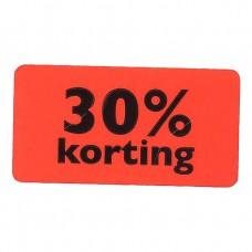 Etiket fluor rood 30% korting 47x25mm 1000st Tpk549706
