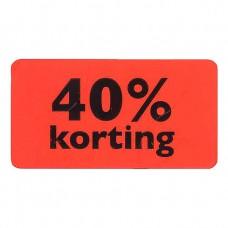 Etiket fluor rood 40% korting 47x25mm 1000st Tpk549707