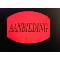 Prijssticker 33x25mm fluor rood Aanbieding 500/rol Td27511508