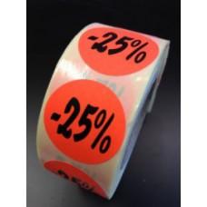 Etiket Ø27mm fluor rood -25% 500/rol Td27511425