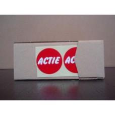 Etiket rood/wit 35mm ACTIE 500/rol Td27513261